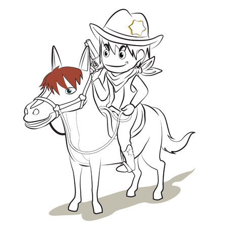 cowboy in uniform hold the gun ride the horse vector cartoon