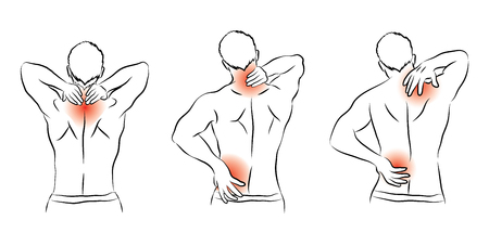 ordeal: human pain ache and hurt in many action vector