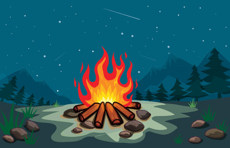 bonfire in the forest at night cartoon vector