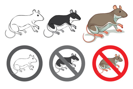 interdict: rat cute cartoon and sign with no rat vector Illustration