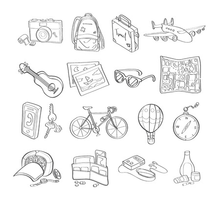 the accessory: travel accessory icon drawing vector
