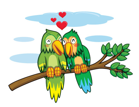 love hearts: twin birds grip branches cartoon vector Illustration