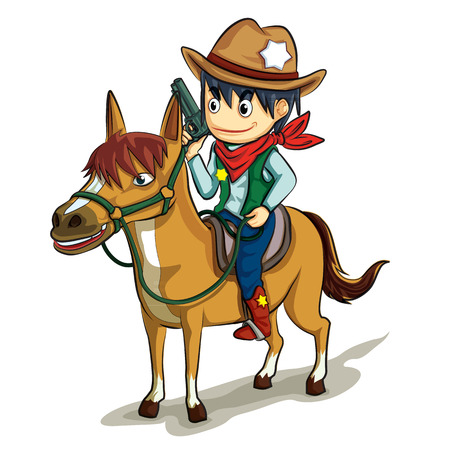 lawman: cowboy in uniform hold the gun ride the horse vector cartoon with colorful