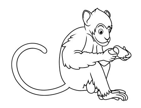 monkey sitting to eatfruit outline