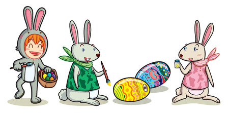 eggs basket: man in bunny suit hold eggs basket to rabbit for paint in easter festival Illustration