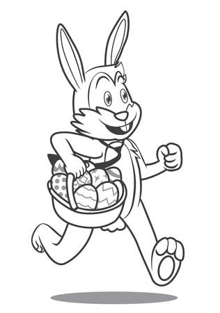 Cartoon Easter bunny running with egg basket. clip art illustration