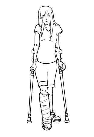 illustration Fille avec une jambe cassée