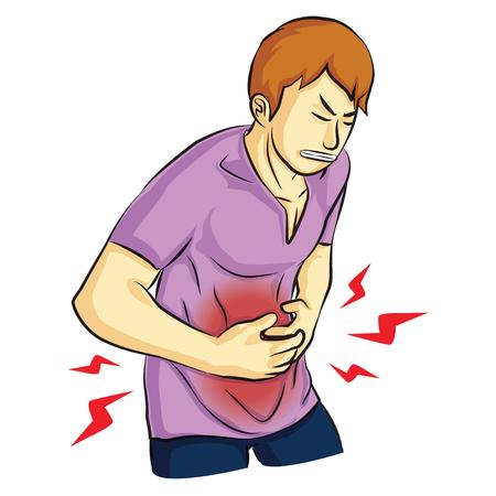 man was maagpijn en houdt zijn hand op de maag cartoon Stock Illustratie