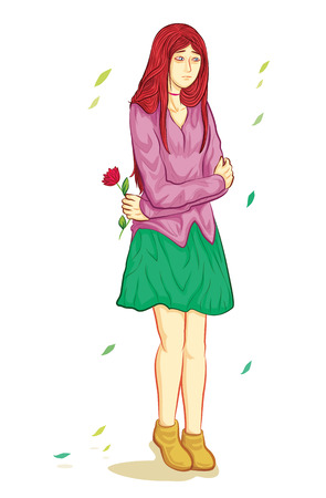 Sad teenager girl standing on floor in autumn when falling leaf 矢量图像