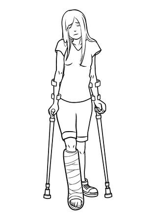 pierna rota: Ilustración de una niña con una pierna rota