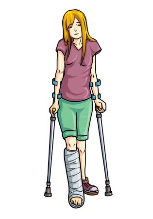 Ilustración de una niña con una pierna rota