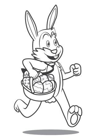 Cartoon Easter bunny running with egg basket