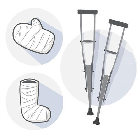 axillary: broken leg equipment white
