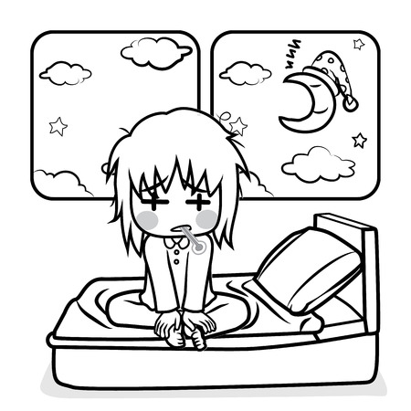 lying in bed: Sick kid lying in bed in night time cartoon vector