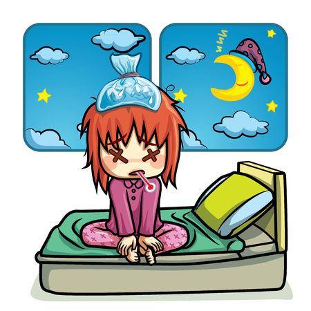 sick malady: Sick kid lying on bed in night time cartoon vector