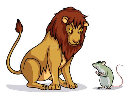lion and rat draw cartoon vector 矢量图像