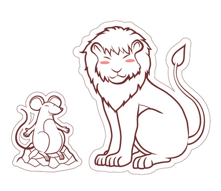 literal: lion and rat friendship cartoon art  for illustrator die cut
