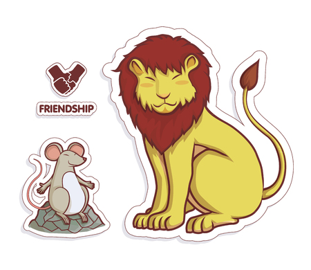 die cut: lion and rat friendship cartoon and art for illustrator die cut colorful