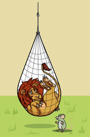 fable: lion was in net trap hang on waiting for help by rat colorful