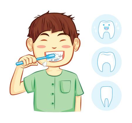 boy brush the teeth illustration cartoon