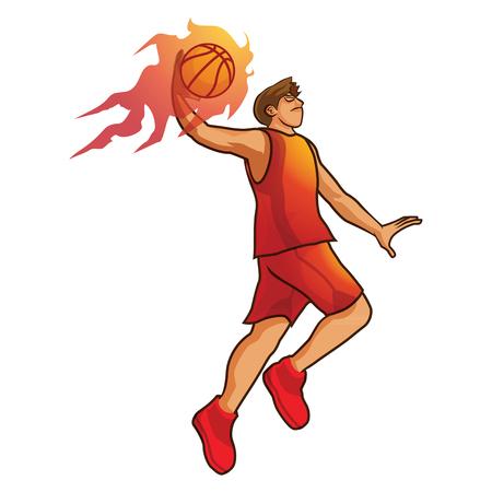man was basketball player jumping to dunk shoot