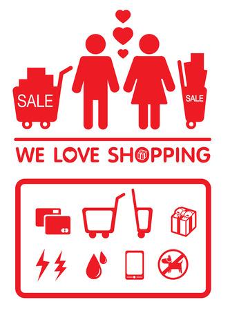 human love shopping vector logo icon
