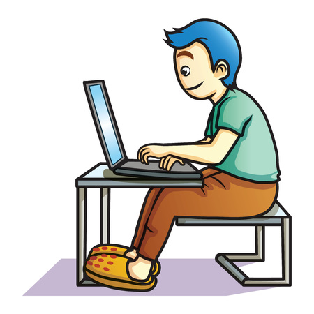 knowlage: human play computer cartoon Illustration