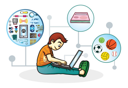 boy play computer find knowlage in internet network 矢量图像