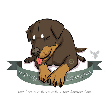 loveable: Rottweiler dog sitting cartoon Illustration