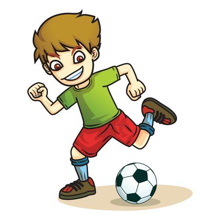 shoot: boy kick ball cartoon Illustration