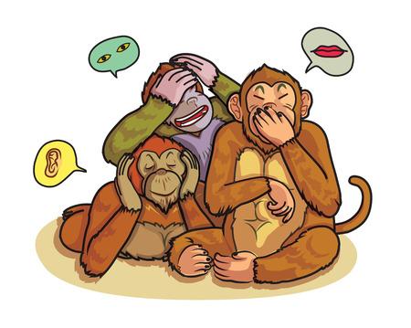 a set of three monkeys action, hear no, see no, do not say cartoon