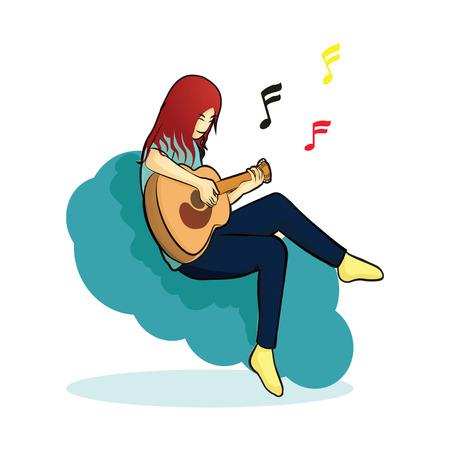 human play guitar sitting on blue cloud 矢量图像