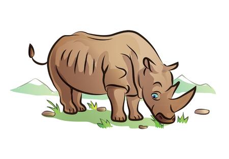 rhino in nature cartoon