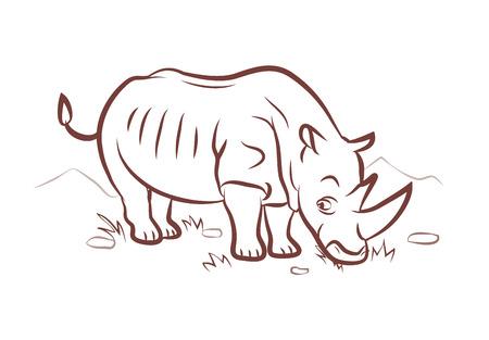 rhino standing in nature background