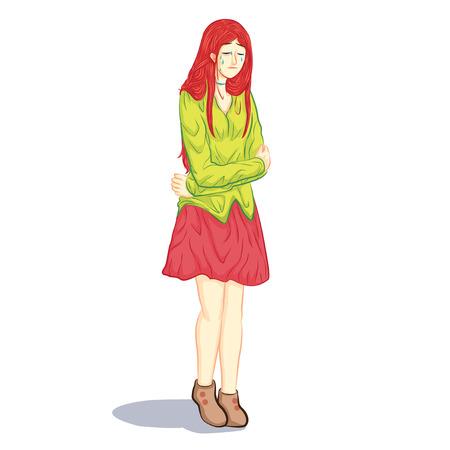 sentarse: triste ilustración muchacha llorando