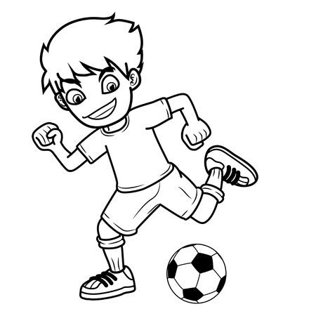 uniform green shoe: boy shooting ball cartoon