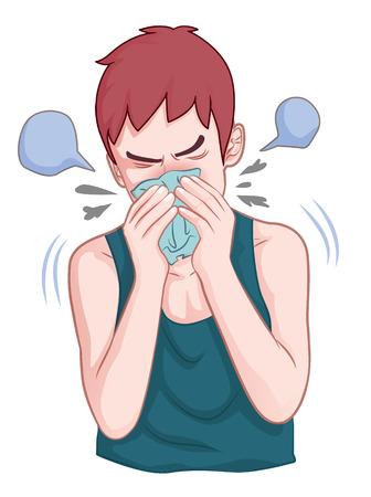 Junge wurde niesen, wenn er krank Cartoon