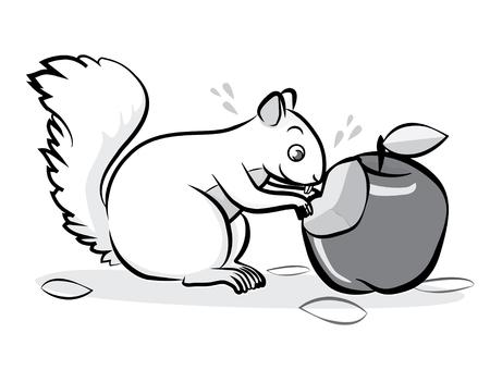 chipmunks eat apple cartoon