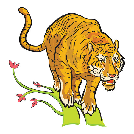 tiger will jump from tree to find food colorful cartoon