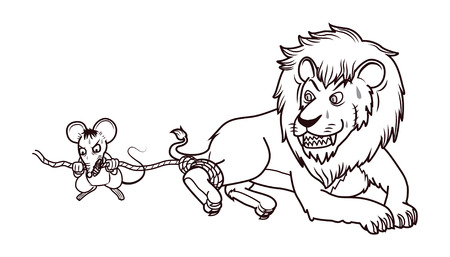 rat help lion in trap by bite the rope cartoon 矢量图像