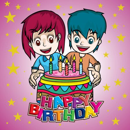 boy and girl cheerful in birthday party with cake 矢量图像