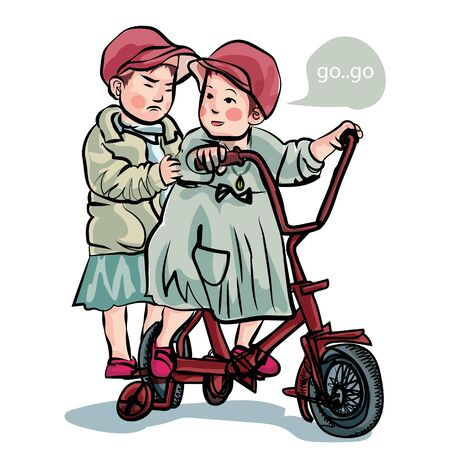 Cute little girl picks up the bike with older sister was smiling