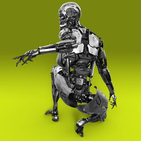All-metal Robot cyborg squats back to the viewer and points his hand to the side 3d render