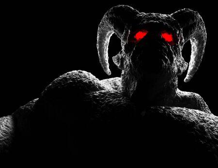 Démon puissant, diable, diablotin, monstre aux cornes tordues, aux yeux lumineux, aux monticules musculaires et à la peau effrayante. rendu 3D Banque d'images