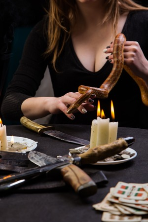 altar: the witch keeps a snake in his hands over a magical altar Stock Photo