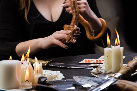 The fortune teller predicts the future with a snake Stock Photo