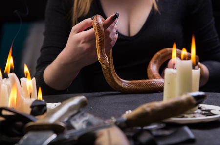 The witch conducts a mystical bloody ritual with a snake