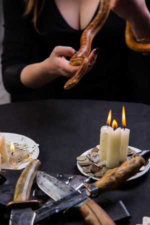 altar: A snake helps you hold the magic ritual witch