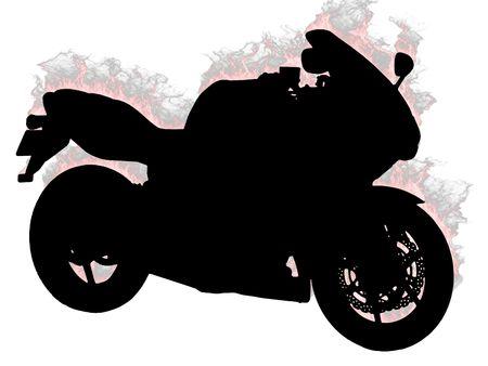 silueta moto: Silueta de motocicletas sobre un fondo blanco