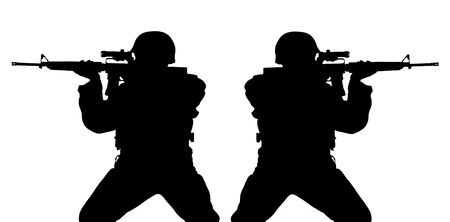 rifleman: Black silhouette of riflemens isolated on white